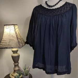 Zac & Rachel Linen and Lace Sheer Blouse